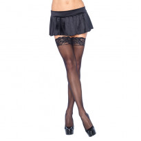 Leg Avenue Sheer Hold Ups With Lace Tops Black UK 8 to 14