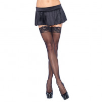 Leg Avenue Plus Size Sheer Thigh Highs Black