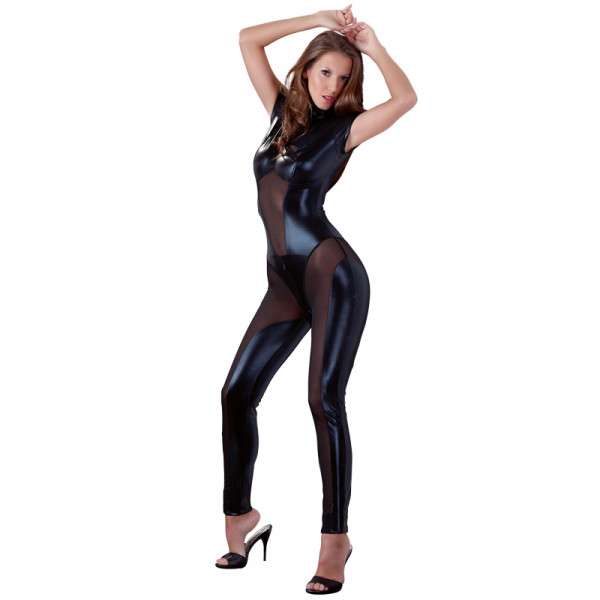 Cottelli Collection Wetlook And Mesh Jumpsuit - For The Closet