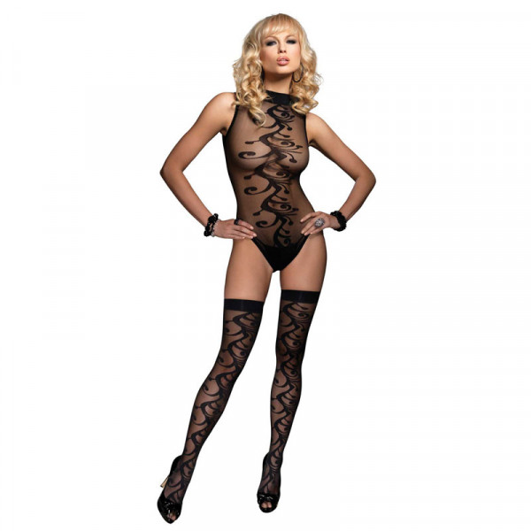 Leg Avenue 2 Piece Jacquard Body with Stockings - For The Closet
