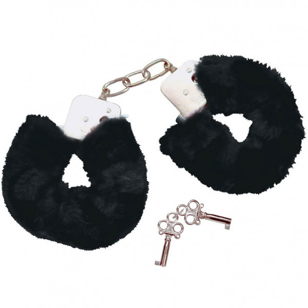 Bad Kitty Black Plush Handcuffs - For The Closet