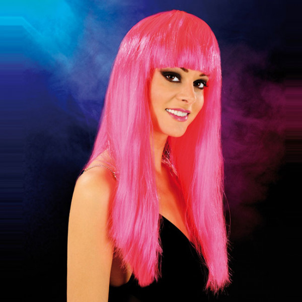 Cabaret Wig Bright Pink Long - For The Closet