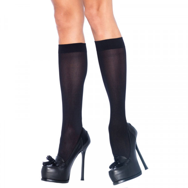 Leg Avenue Nylon Knee Highs Black UK 8 to 14