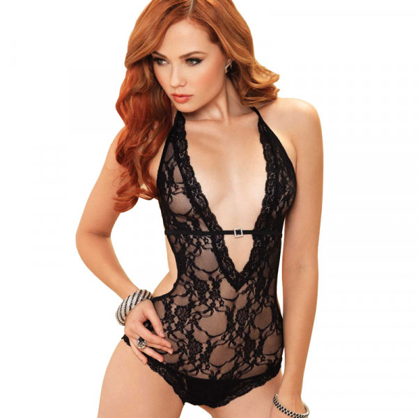 Leg Avenue Deep V Halter Teddy Black - For The Closet
