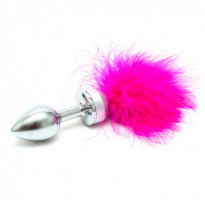 Small Butt Plug With Pink Feathers