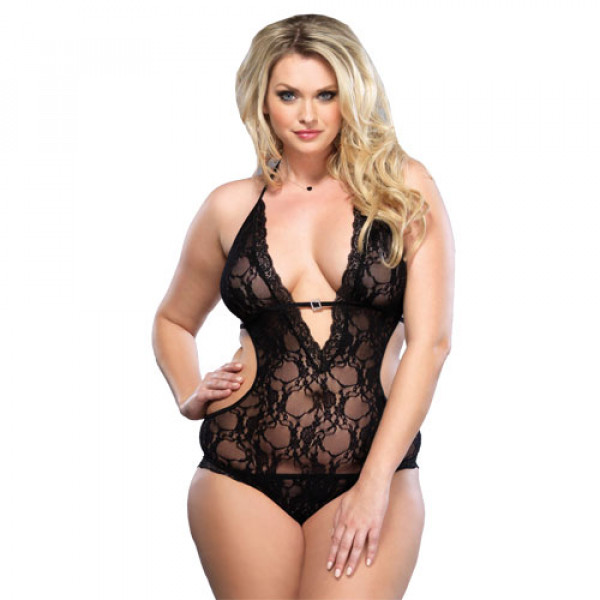 Leg Avenue Lace Deep V Halter Teddy UK 16-18 - For The Closet