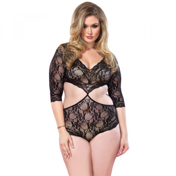 Leg Avenue Cut Out Floral Lace Teddy UK 16-18 - For The Closet