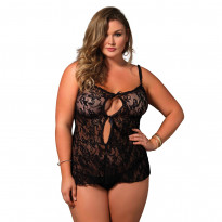Leg Avenue Stretch Lace KeyHole Chemise Plus Size