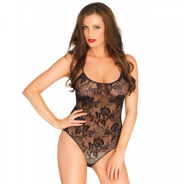 Leg Avenue Rose Lace Strappy Black Teddy UK 8 to 14