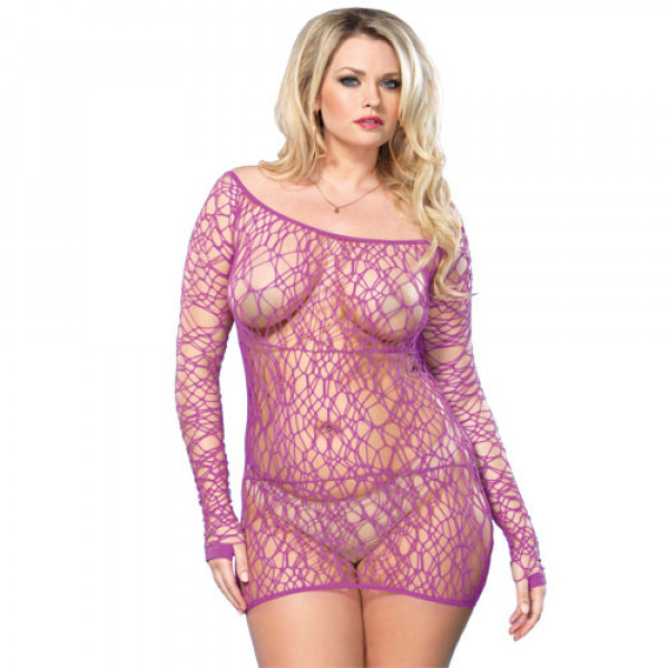 Leg Avenue Web Net Mini Dress Purple UK 16-18