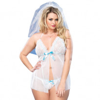 Leg Avenue Mesh Babydoll and G-String UK 16-18