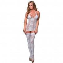 Leg Avenue Lace Suspender Bodystocking UK 8 to 14