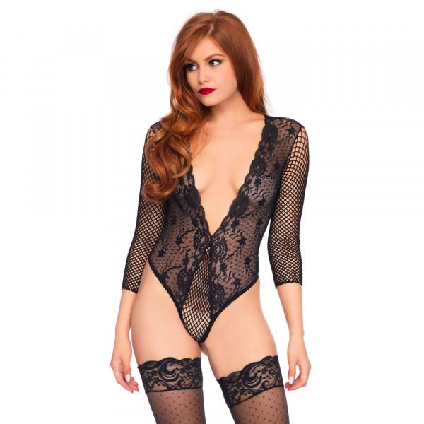 Leg Avenue High Cut Deep V Lace Thong Teddy Black