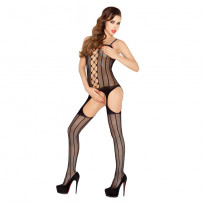 Passion Open Crotch Striped Body Stocking Black