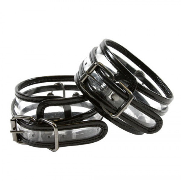 Bare Bondage Clear Vinyl Wrist Cuffs - For The Closet