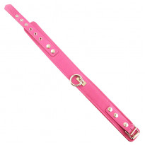 Rouge Garments Plain Pink Leather Collar