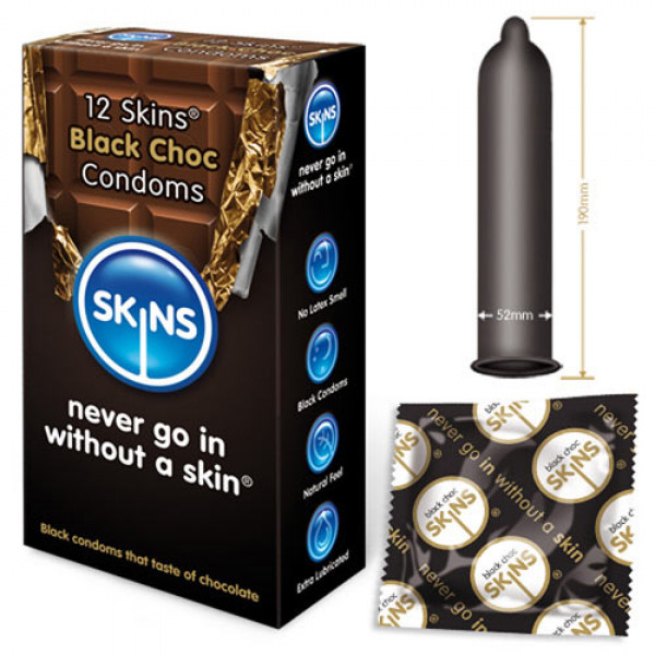 Skins Condoms Black Choc 12 Pack - For The Closet