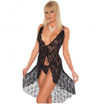 Black Lace Night Dress and GString One Size 812 UK