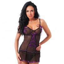Black Mini Dress and GString One Size 8-12 UK