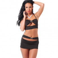 Black Mini Skirt and Crop Top UK Size 8-12