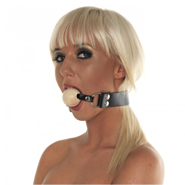 Leather Gag with Wooden Ball
