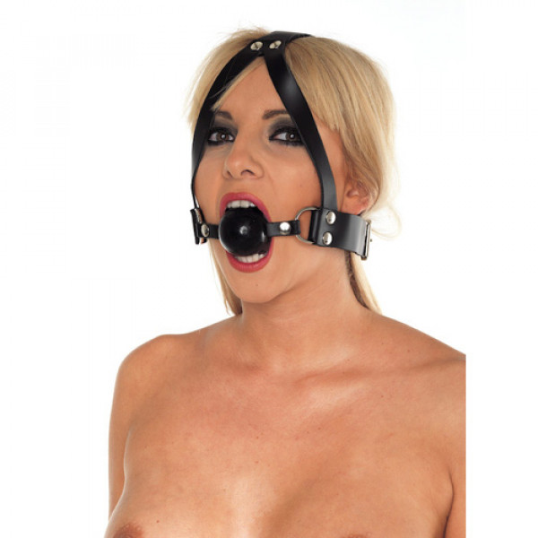 Leather Ball Gag and Head Harness - For The Closet