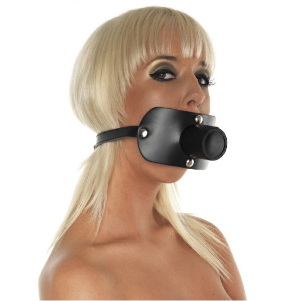 Leather Gag with Urine Tube - For The Closet