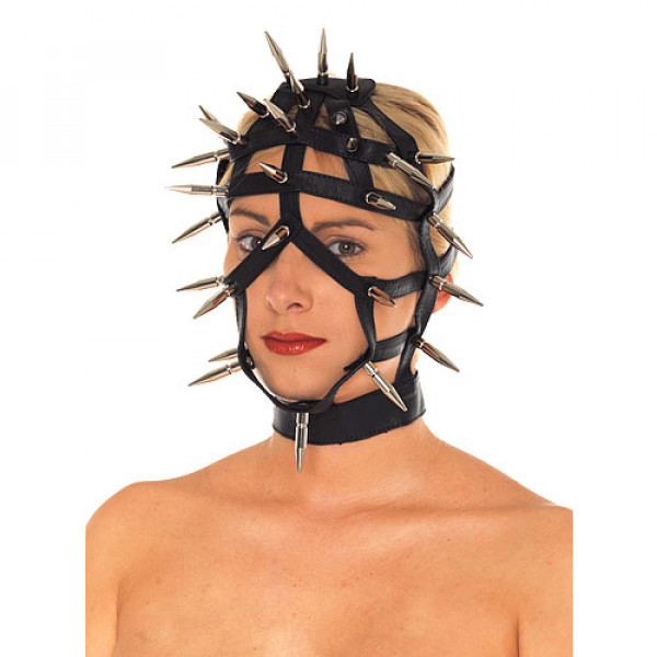 Leather Spiked Face Mask with Open Straps - For The Closet