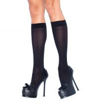 Leg Avenue Nylon Knee Highs Black UK 8 to 14