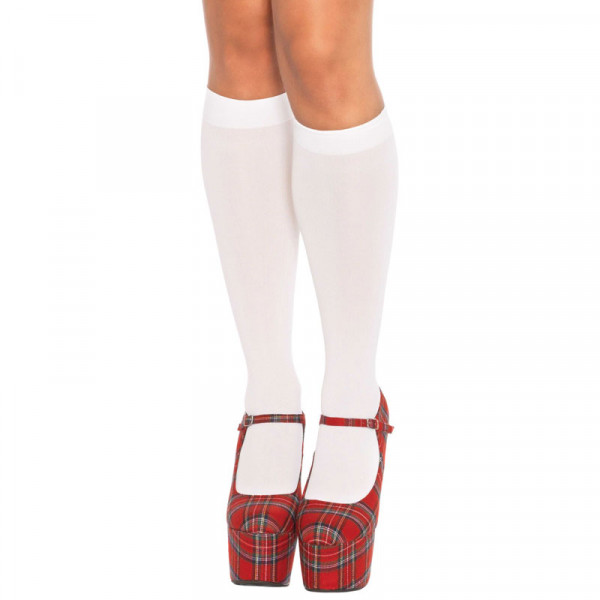 Leg Avenue Nylon Knee Highs White UK 8 to 14