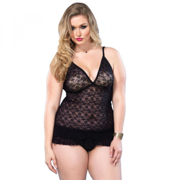Leg Avenue Lace Deep-V Halter Teddy UK 16-18