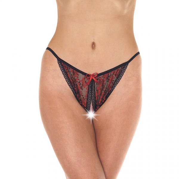 Red and Black Tanga Open Brief