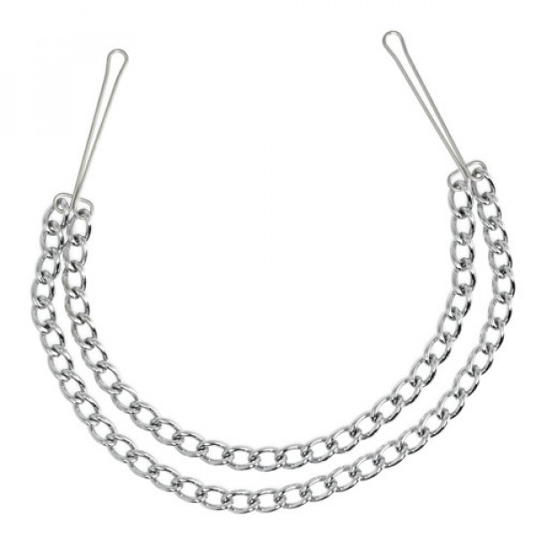 Silver Nipple Clamps with Double Chain