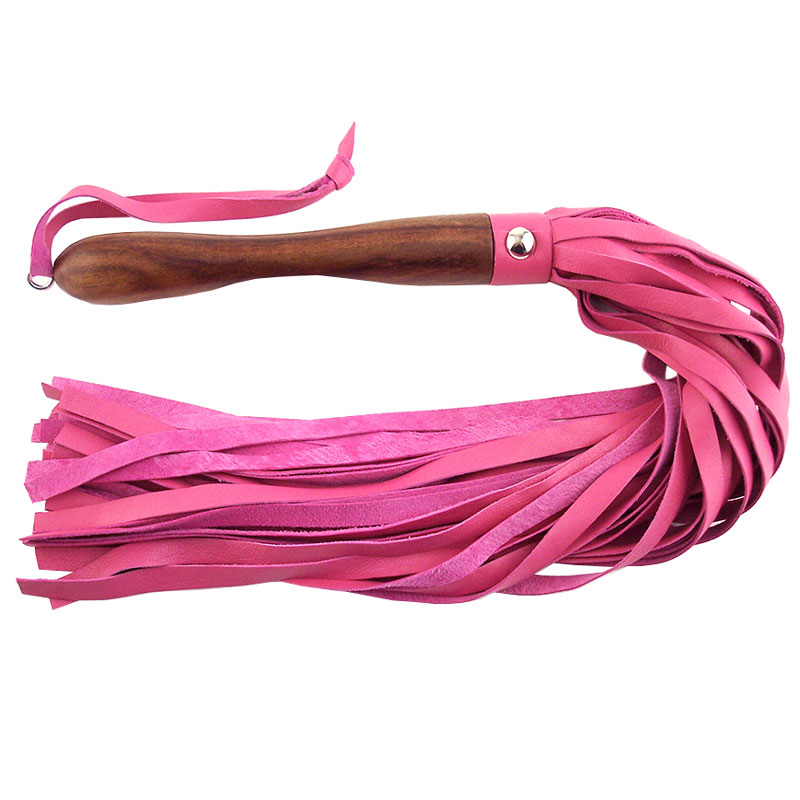 Rouge Garments Wooden Handled Pink Leather Flogger - For The Closet