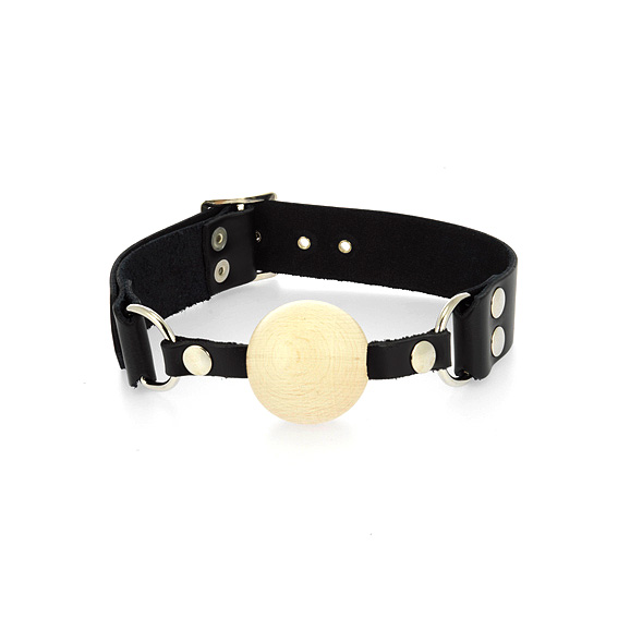 Leather Gag with Wooden Ball - For The Closet